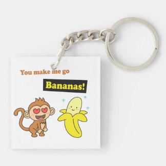 El mono va los plátanos, humor lindo del amor llavero cuadrado acrílico a doble cara