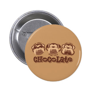 El mono ve el chocolate pin redondo 5 cm