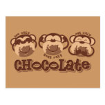 El mono ve el chocolate postal