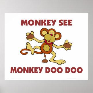 El mono ve el mono Doo Doo Póster