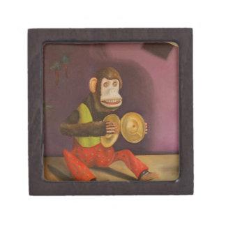 El mono ve el mono hacer caja de recuerdo de calidad