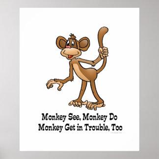 El mono ve, mono hace, mono consigue en problema, póster