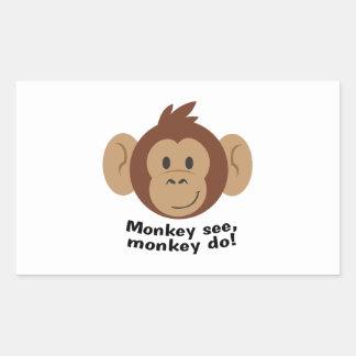 El mono ve pegatina rectangular
