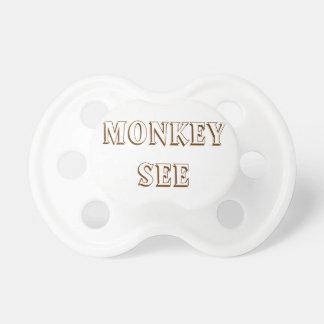 El mono ve y mono para hacer los pacificadores par chupete de bebe
