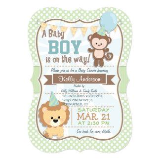 """El mono y el león del bebé, fiesta de bienvenida invitación 5"""" x 7"""""""