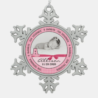 El monograma A de la nueva niña de los padres Adorno De Peltre En Forma De Copo De Nieve