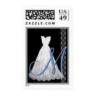 El monograma AZUL BLANCO NEGRO del vestido de boda Estampillas