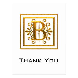 El monograma B de oro elegante le agradece las pos Tarjetas Postales