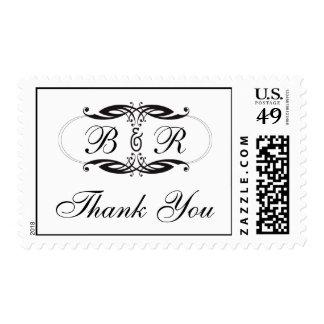 El monograma blanco negro del art déco le agradece sello