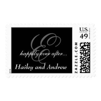 El monograma blanco negro nombra sellos del boda