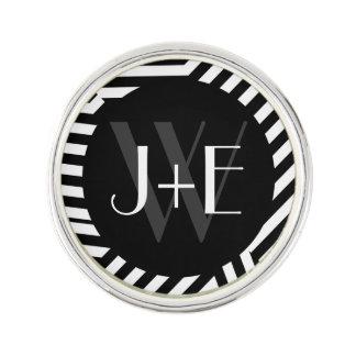 El monograma blanco y negro de moda raya el boda insignia