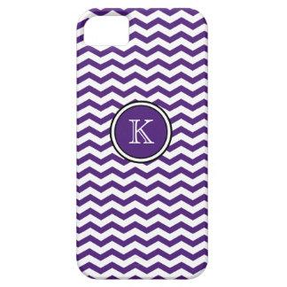El monograma Chevron púrpura raya la caja del Funda Para iPhone SE/5/5s