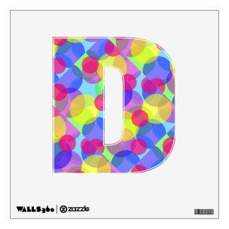 El monograma colorido burbujea etiqueta de la pare vinilo decorativo