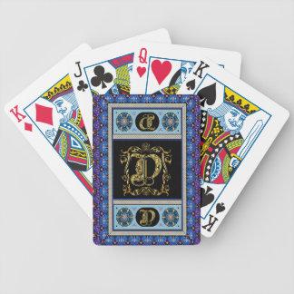 El monograma D una de las tarjetas de una opinión  Baraja Cartas De Poker
