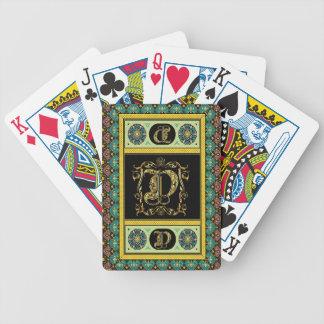 El monograma D una de las tarjetas de una opinión  Baraja De Cartas