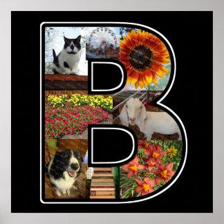El monograma de B crea su propio negro del collage Póster
