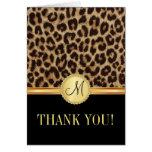 El monograma de Bling del leopardo le agradece las Felicitación