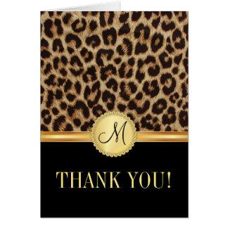 El monograma de Bling del leopardo le agradece las