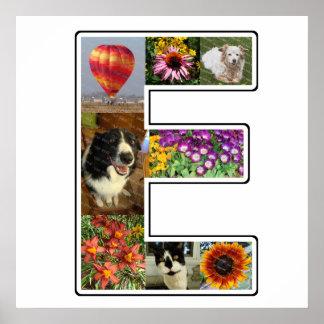El monograma de E crea su propio collage de la Póster