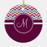 El monograma de encargo Chevron colorido raya zigz Adorno De Reyes