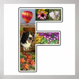 El monograma de F crea su propio collage de la Póster