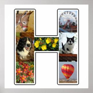 El monograma de H crea su propio collage de la Póster