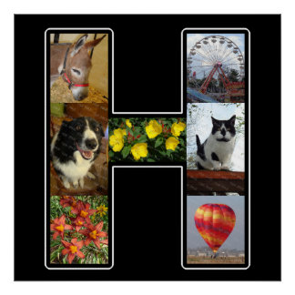 El monograma de H crea su propio negro del collage Póster