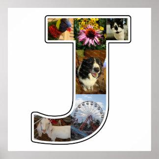 El monograma de J crea su propio collage de la Póster