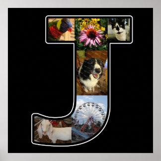 El monograma de J crea su propio negro del collage Póster