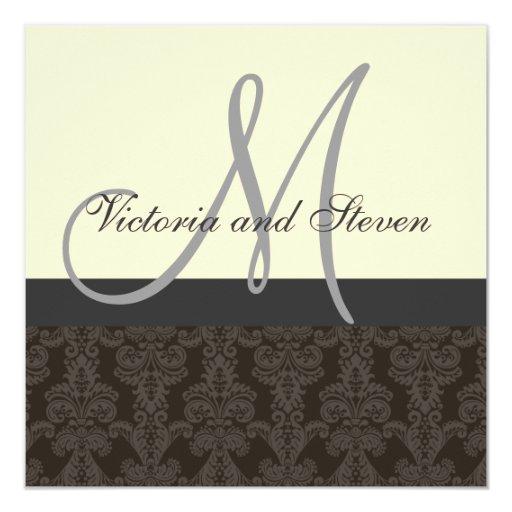 El monograma de la invitación del boda nombra el invitación 13,3 cm x 13,3cm