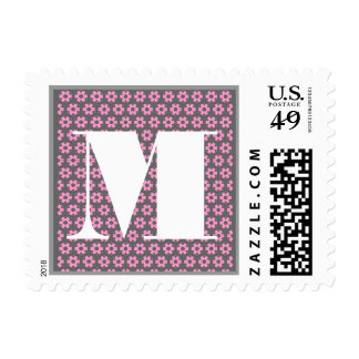 El monograma de la letra M - el rosa floreció el Sello