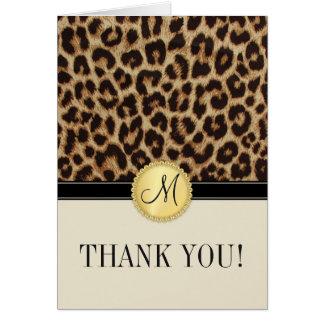 El monograma de la piel del leopardo le agradece l tarjeta pequeña