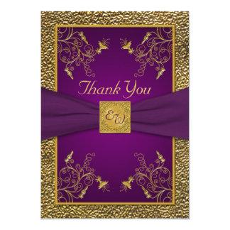 """El monograma de la púrpura real y del oro le invitación 5"""" x 7"""""""