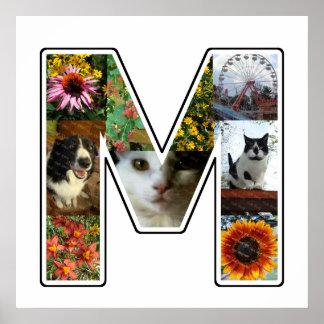 El monograma de M crea su propio collage de la Póster