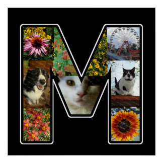 El monograma de M crea su propio negro del collage Póster