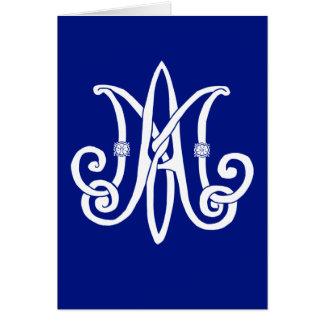 El monograma de Maria con los rosas Tarjeton