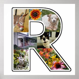 El monograma de R crea su propio collage de la Póster