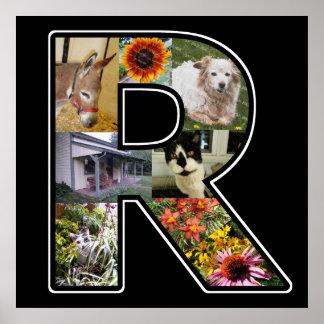 El monograma de R crea su propio negro del collage Póster