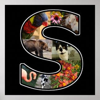 El monograma de S crea su propio negro del collage Póster