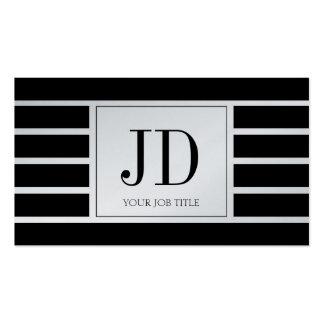 El monograma de YourJobTitle/rayó/negro/platino Tarjeta De Visita