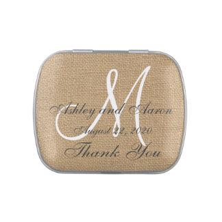 El monograma del boda de la arpillera nombra la fe latas de caramelos