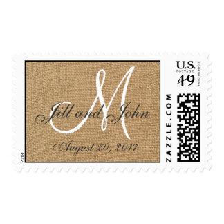 El monograma del boda de la arpillera nombra la sello