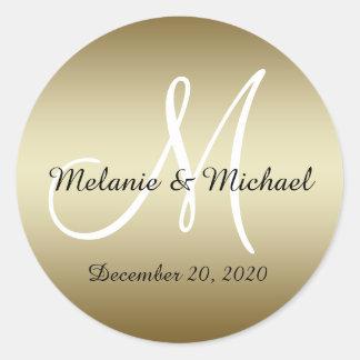 El monograma del boda de oro sella a los pegatinas pegatina redonda