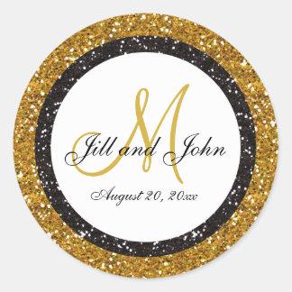 El monograma del boda del negro del oro del brillo pegatina redonda