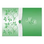 El monograma del verde esmeralda y del blanco II Invitación 12,7 X 17,8 Cm
