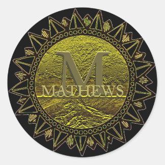 El monograma el | añade el nombre el | Sun Pegatina Redonda