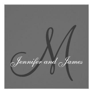 El monograma elegante de las invitaciones del boda comunicado personalizado
