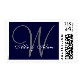 El monograma elegante del gris de azules marinos sello postal
