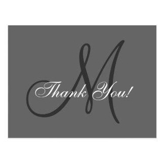 El monograma elegante el | que se casa le agradece postal