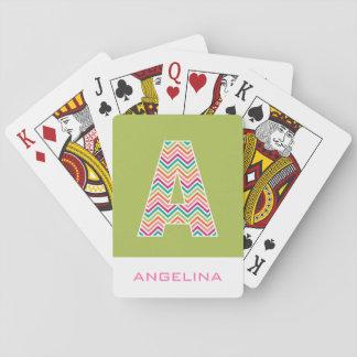 El monograma enorme con los galones coloridos letr cartas de póquer